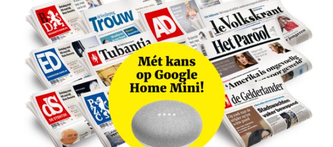 Krantenactie: 3 weken voor € 3 + kans op Google Home Mini