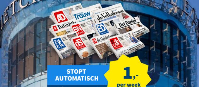 3 weken de krant voor € 3 + win een Fletcher bon t.w.v. € 70