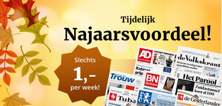 Lees de krant 4 weken voor € 4