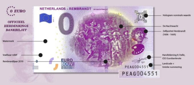 Gratis 0€ Herdenkingsbiljet Rembrandt van Rijn