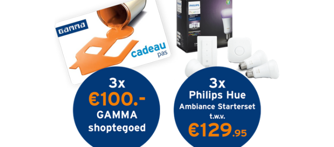 Win 3x Philips Hue of € 100 GAMMA shoptegoed