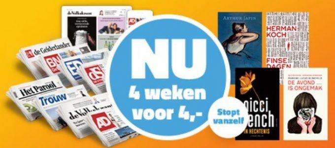 Lees 4 weken de krant voor € 4 + gratis bestseller boek